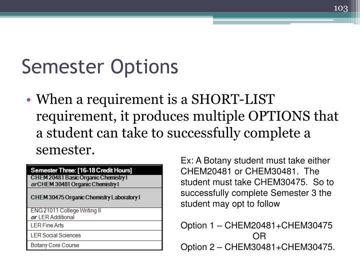 Semester Options