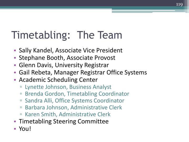 Timetabling:  The Team