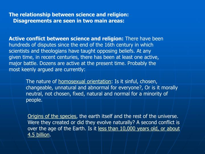 Active conflict between science and religion: