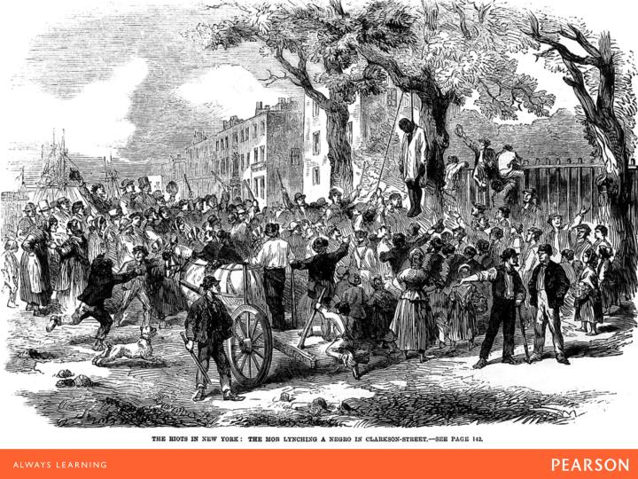 An 1863 draft call in New York provoked violence against African Americans, viewed by the rioters as the cause of an unnecessary war, and rage against the rich men who had been able to buy exemptions from the draft. This 1863 illustration from