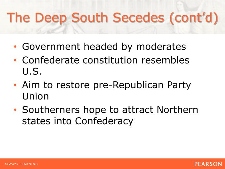 The Deep South Secedes (cont'd)