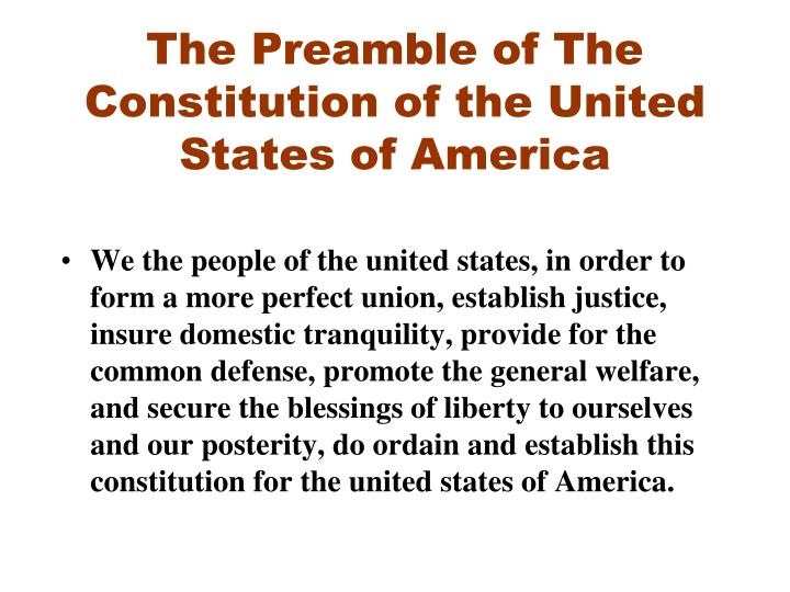The preamble of the constitution of the united states of america