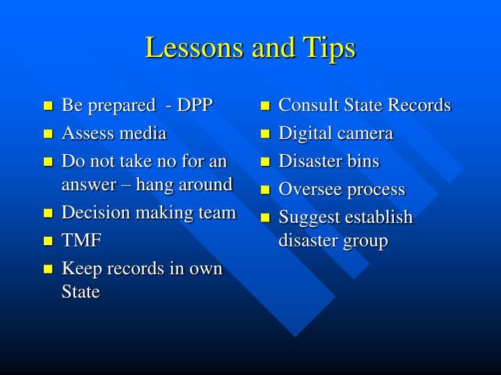Be prepared  - DPP