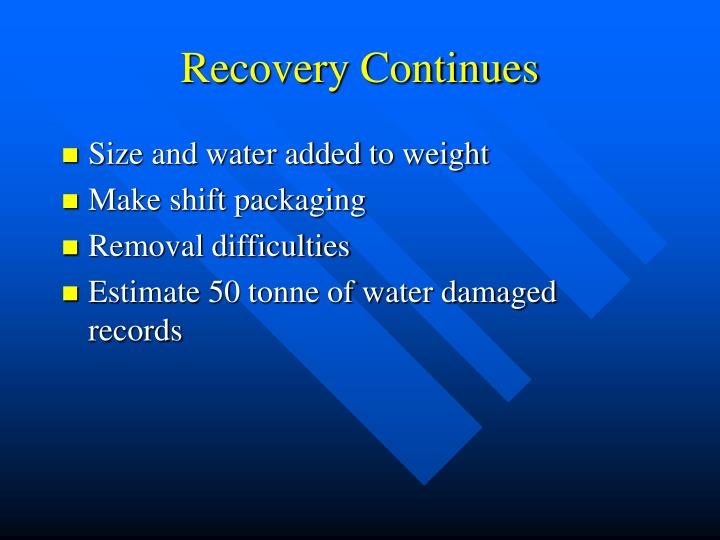 Recovery Continues