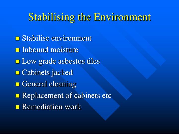 Stabilising the Environment