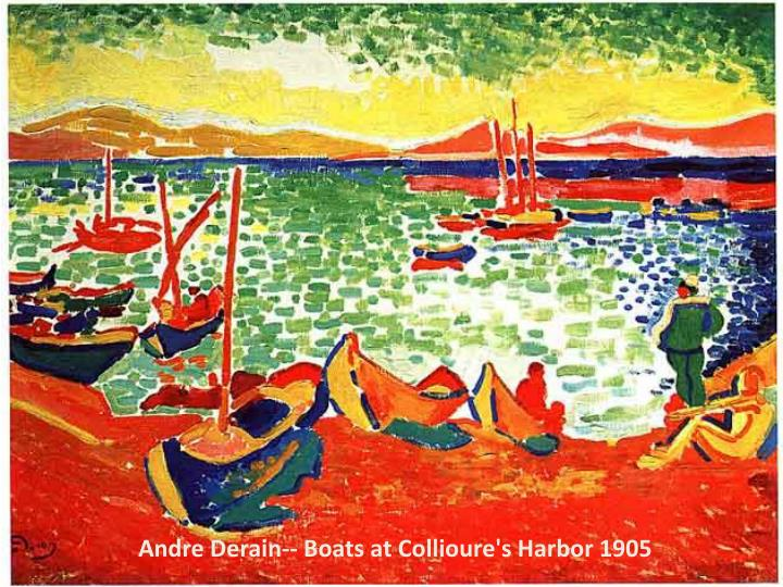 Andre Derain-- Boats at Collioure's Harbor 1905