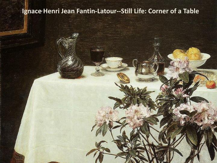 Ignace Henri Jean Fantin-Latour--Still Life: Corner of a Table