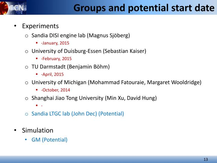 Groups and potential start date