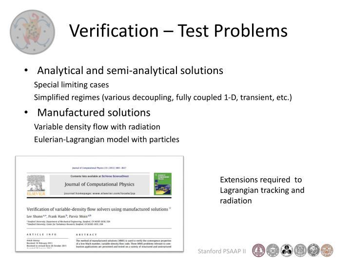 Verification – Test Problems