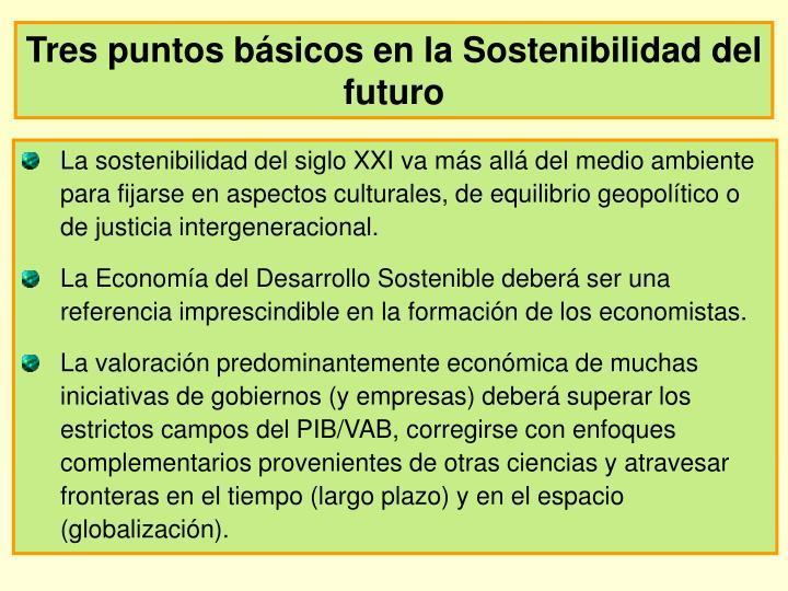 Tres puntos básicos en la Sostenibilidad del futuro