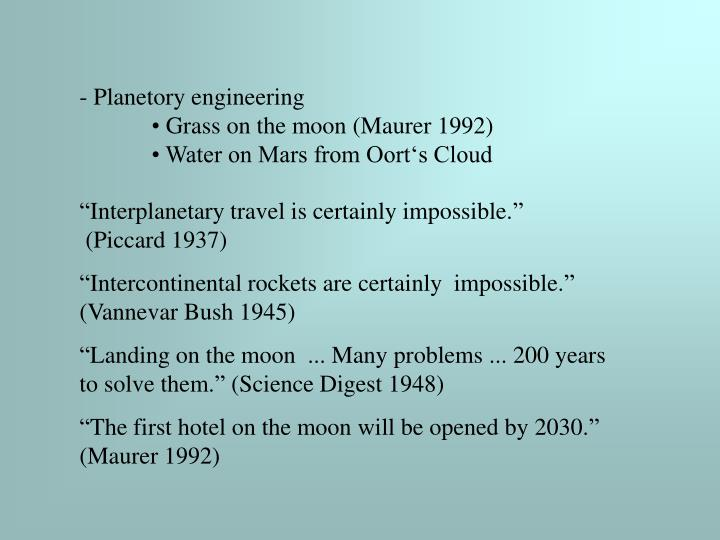 Planetory engineering