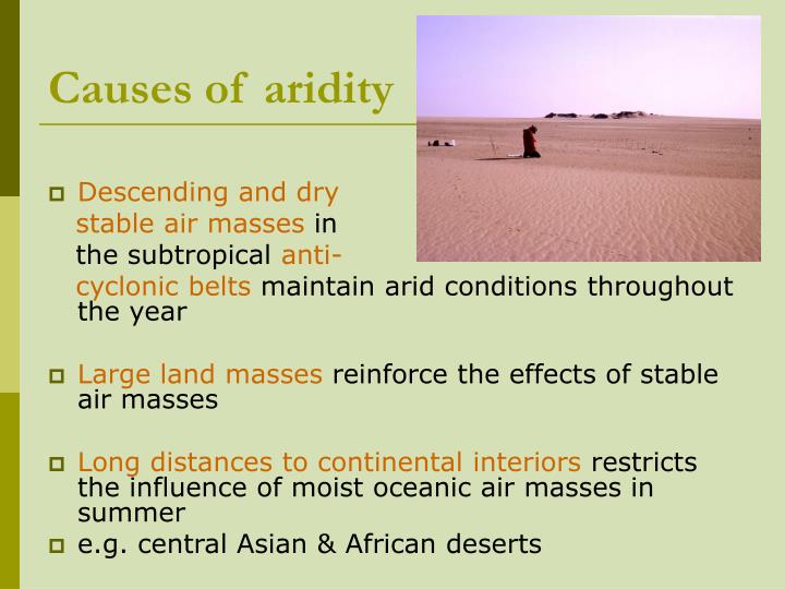 Causes of aridity
