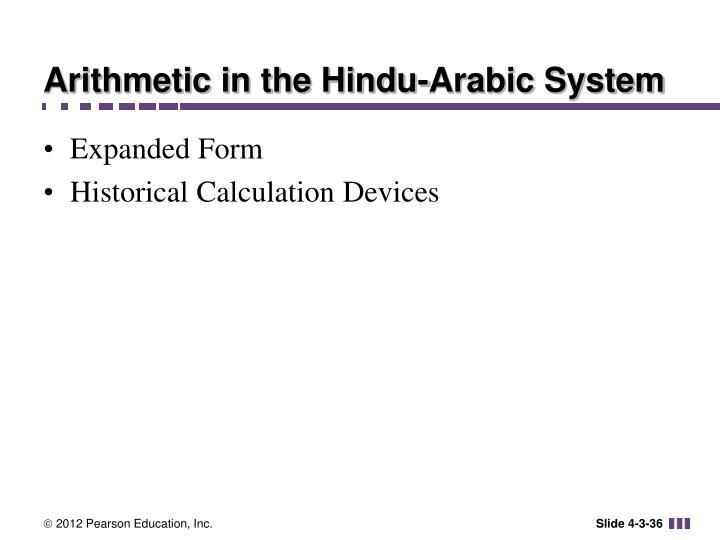 Arithmetic in the Hindu-Arabic System