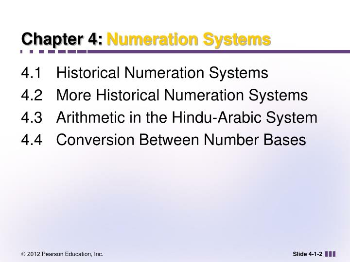 Chapter 4 numeration systems