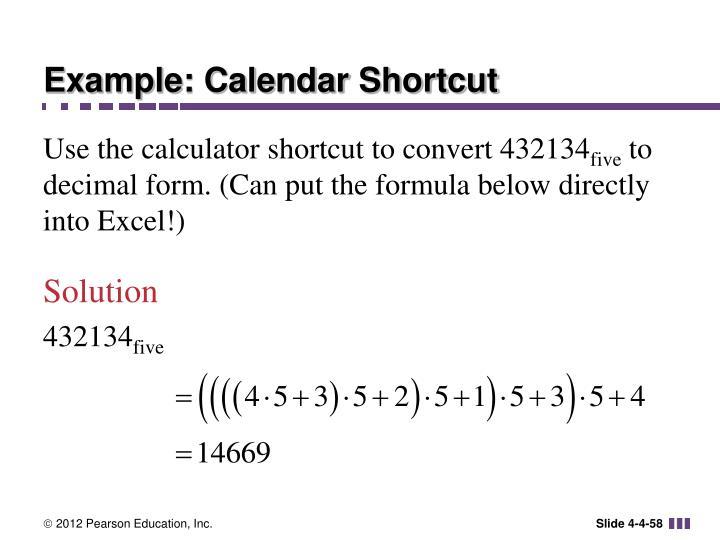 Example: Calendar Shortcut