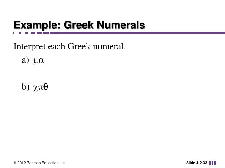 Example: Greek Numerals