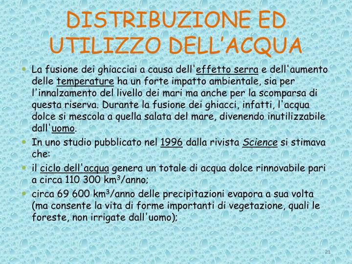 DISTRIBUZIONE ED UTILIZZO DELL'ACQUA