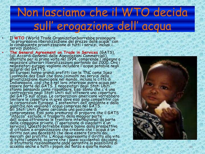 Non lasciamo che il WTO decida sull' erogazione dell' acqua