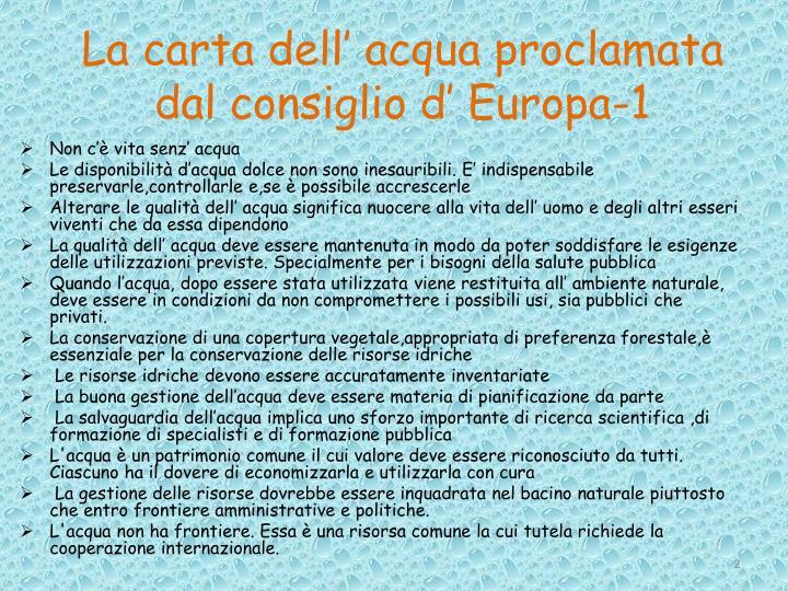 La carta dell' acqua proclamata dal consiglio d' Europa-1