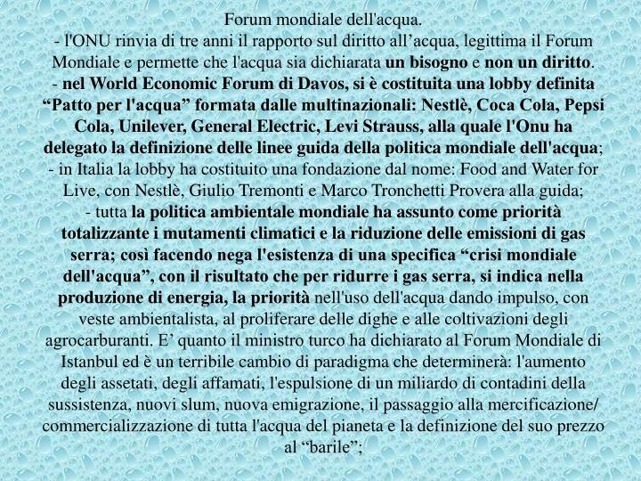 Forum mondiale dell'acqua.