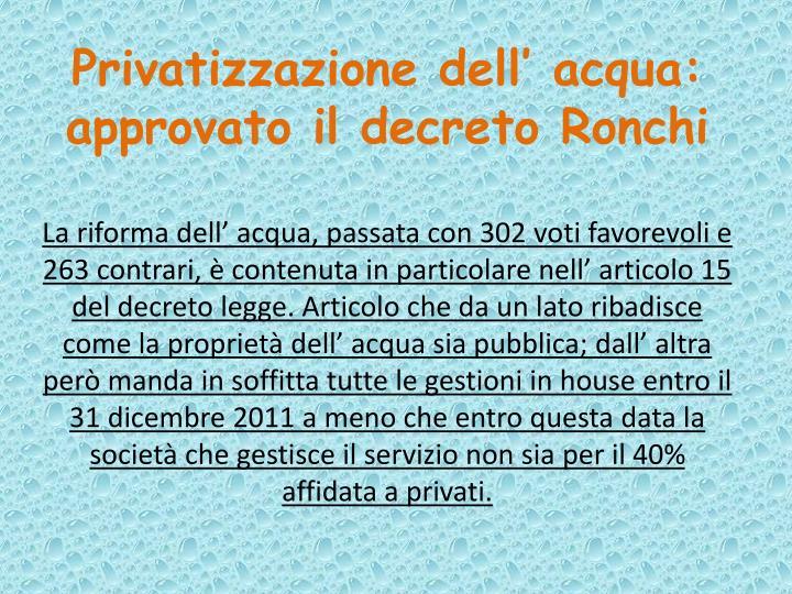 Privatizzazione dell' acqua: approvato il decreto Ronchi