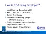 how is rda being developed