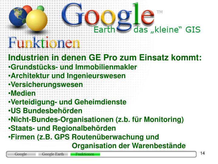 Industrien in denen GE Pro zum Einsatz kommt: