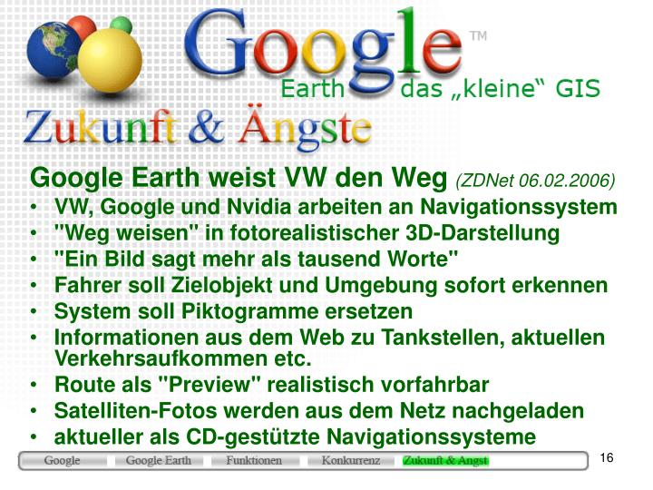 Google Earth weist VW den Weg