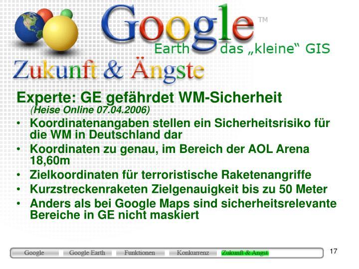 Experte: GE gefährdet WM-Sicherheit