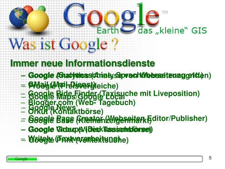 Immer neue Informationsdienste