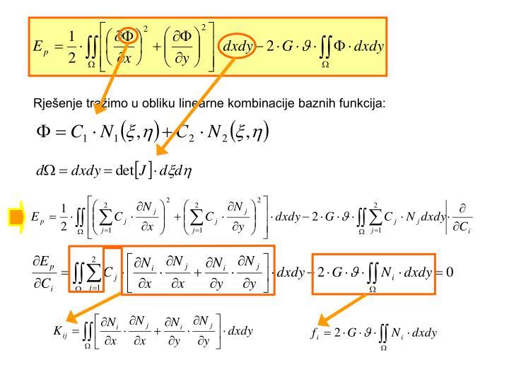 Rješenje tražimo u obliku linearne kombinacije baznih funkcija:
