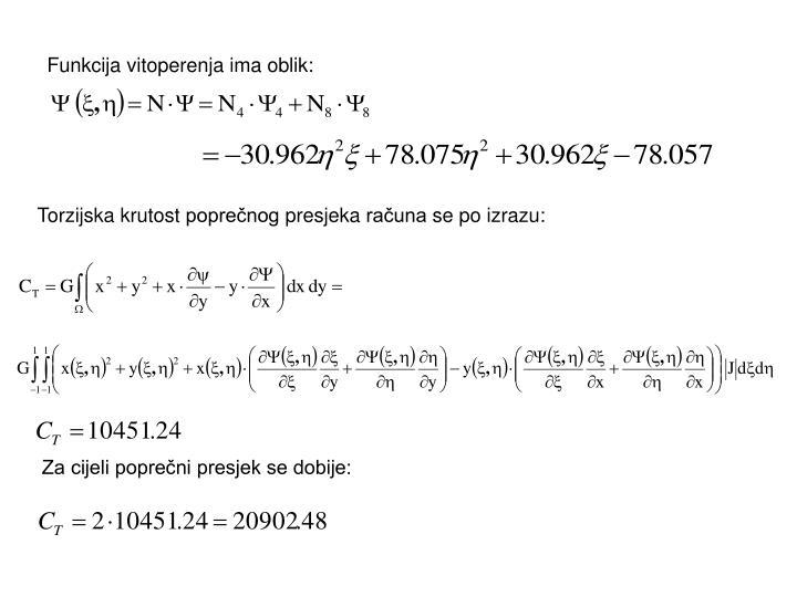 Funkcija vitoperenja ima oblik: