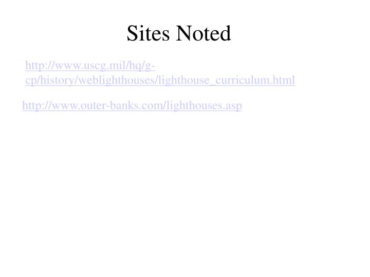 Sites Noted