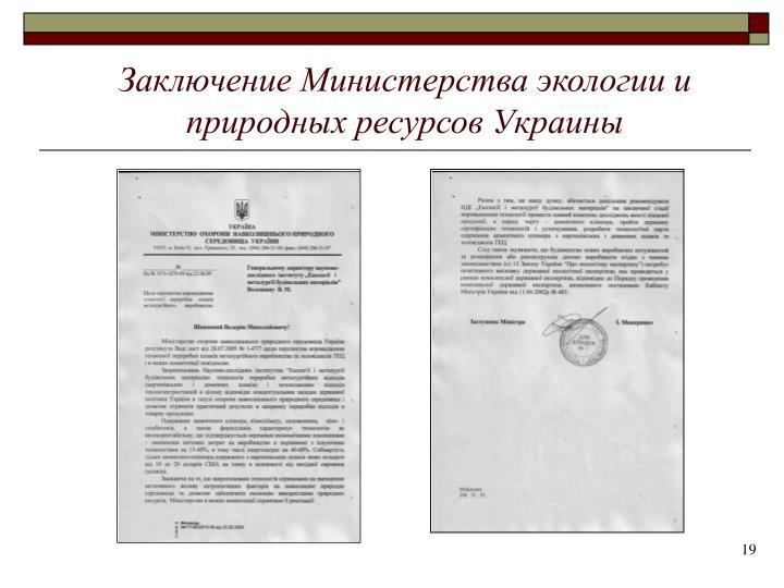 Заключение Министерства экологии и природных ресурсов Украины