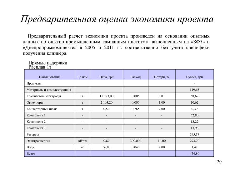 Предварительная оценка экономики проекта