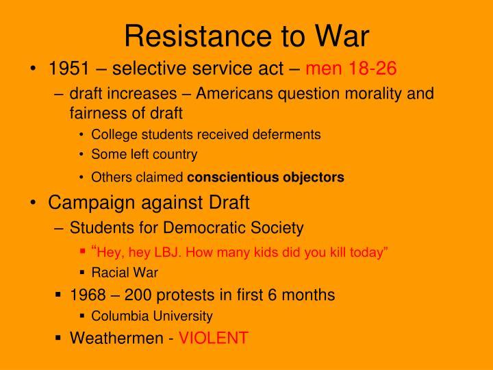 Resistance to War