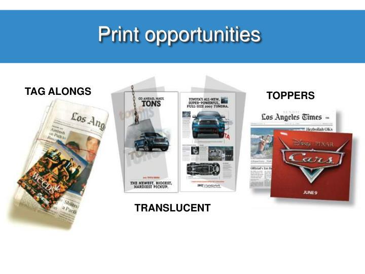 Print opportunities