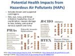 potential health impacts from hazardous air pollutants haps