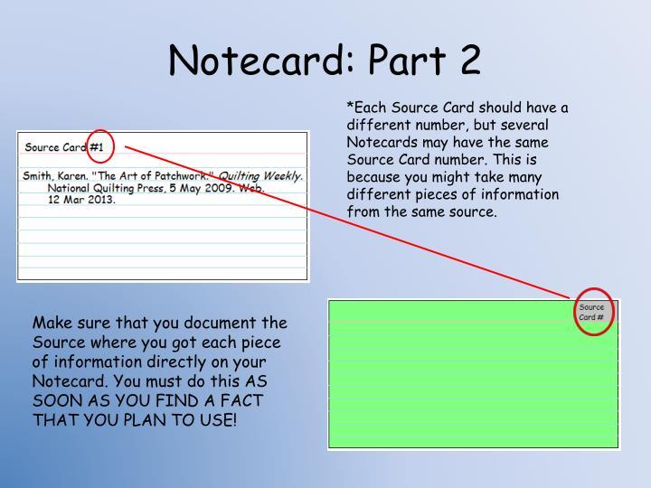 Notecard: Part 2