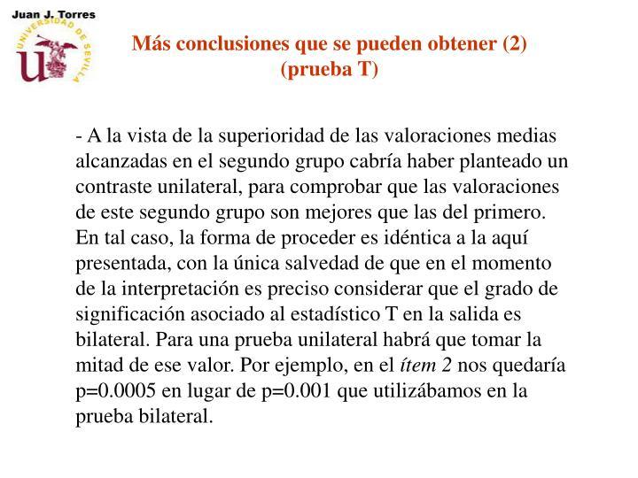 Más conclusiones que se pueden obtener (2)
