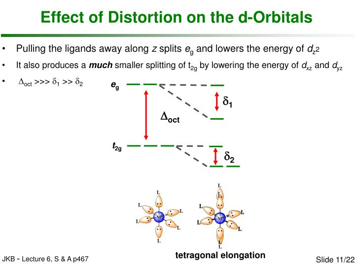 Effect of Distortion on the d-Orbitals