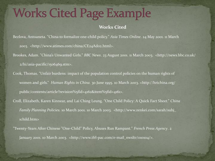 Works Cited Page Example