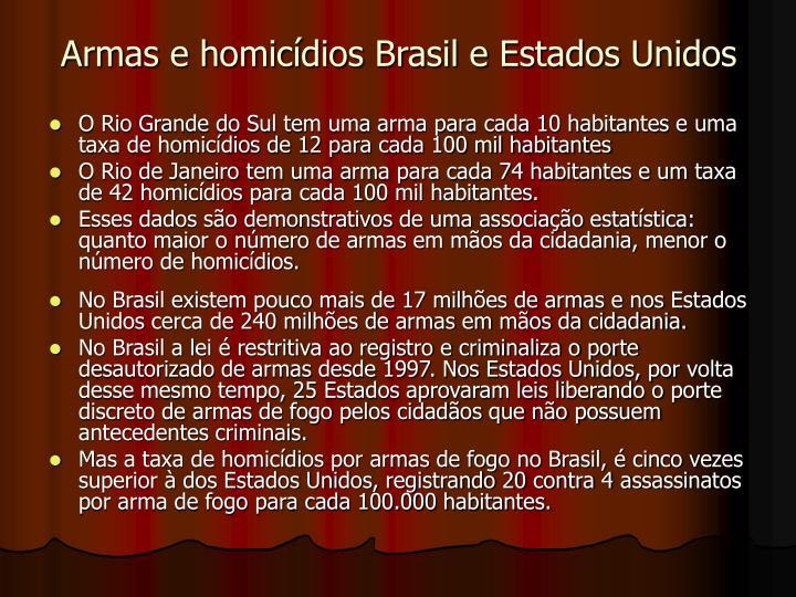 Armas e homicídios Brasil e Estados Unidos
