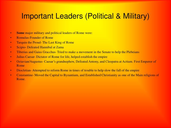 Important Leaders (Political & Military)