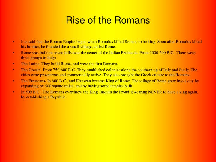 Rise of the romans