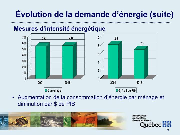 Évolution de la demande d'énergie (suite)