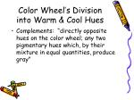 color wheel s division into warm cool hues