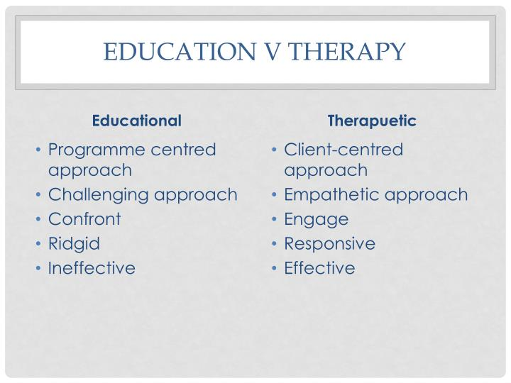 Education v Therapy