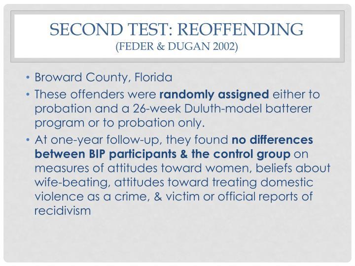 Second test: reoffending