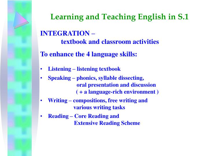 Learning and Teaching English in S.1